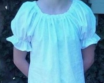 girls (1/2, 3/4 ,or 5/6, ) renaissance faire Short Sleeve chemise Blouse