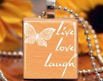 Orange Live Love Laugh Butterfly Scrabble Tile Necklace S5-4