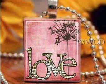 Pink Love Newsprint Scrabble Tile Necklace S5-8