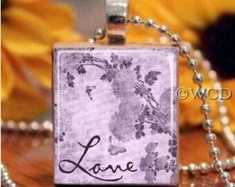 Love Purple Flowers Scrabble Tile Necklace S5-9