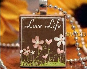 Love Life Brown Flowers Scrabble Tile Necklace S5-12