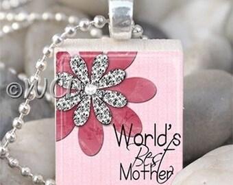 Pink World's Best Mother Flower Scrabble Tile Necklace S34-5