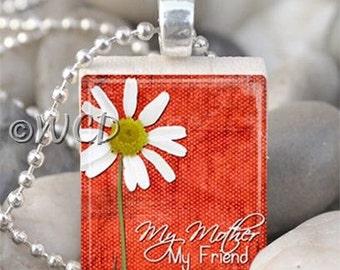 Orange My Mother My Friend Daisy Scrabble Tile Necklace S34-22