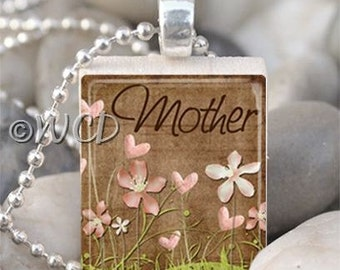Mother Flowers Brown Scrabble Tile Necklace S34-16