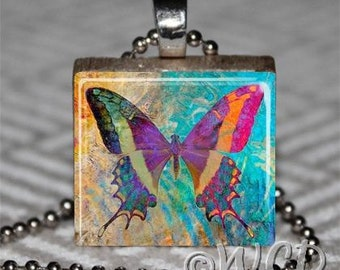 Colorful Beautiful Butterfly Scrabble Tile Necklace S44-14