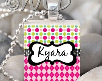 Custom NAME or WORD Polka Dot Argyle Scrabble Tile Necklace S43-37