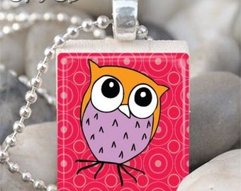 Purple and Orange Whimsical Owl Scrabble Tile Necklace S48-9