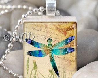 Blue Teal Dragonfly Vintage Writing Scrabble Tile Necklace S47-7