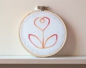 Hand embroidery hoop art Cottage Flower Pink Sherbert Lemon by 24pont