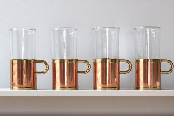 Hot Toddy Glasses Copper Brass (Set of 4) Vintage