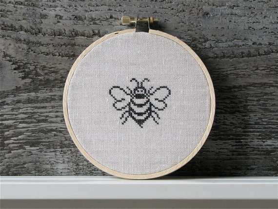Hand embroidery hoop art queen bee cross stitch black by