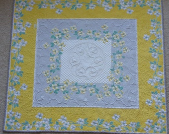 Yellow and Grey Blossoms quilted vintage tablecloth
