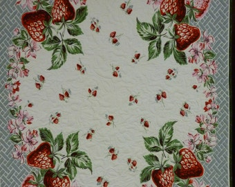Strawberries and Grey quilted vintage tablecloth