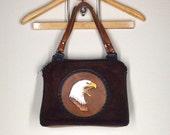 Vintage 1970s Tooled Leather Purse : Brown Suede Eagle Bag