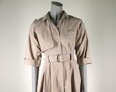 Vintage 1970s Khaki Dress : Belted Trench Safari Shirtwaist Dress M
