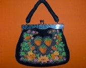 1950's black beaded purse with flowers and strawberries