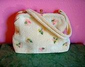 Springtime flowered white beaded vintage bag