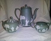 Wedgewood Jasperware sage and white teapot, creamer ,sugar set and 5 demitasse cups and saucers