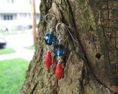 Red and Blue Dangle Earrings