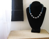 Ocean Blue Recycled Glass and Almond Pearl Necklace