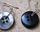 Faux Shell Vintage Button Earrings