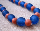 Peach and Blue Recycled Glass Fair Trade Necklace