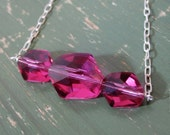 Fuscia Pink Swarovski Crystal and Fair Trade Sterling Silver necklace