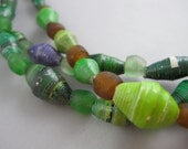 Recycled Paper and Glass Necklace in Green and Purple