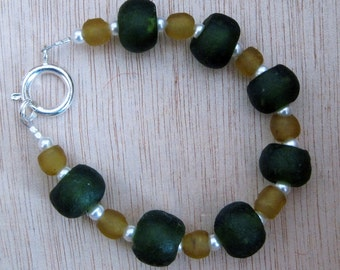 Recycled Glass Green and Amber Bracelet
