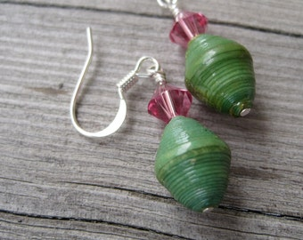 Green and Pink Eco Earrings