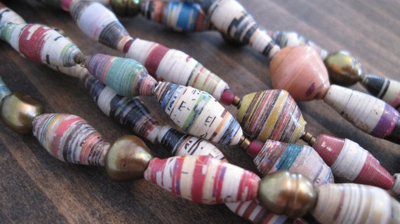 Neutral Recycled Paper Necklace