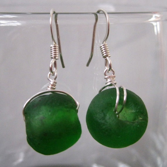 Green Recycled Glass Earrings Eco Friendly Fair Trade