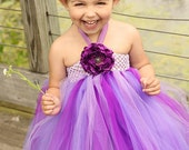 Purple Flower Girl Tutu Dress, Purple Tutu Dress, Flower Girl Dress 12 months to 2Toddler