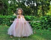 Tutu Dress, Flower Girl Dress, Beige Mauve Antique Lace Style 2 Toddler  to 4 Toddler