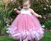 Pink Petti Tutu Dress, Dusty Rose Petti Tutu Dress, Pageant Tutu, Flower Girls Tutu, 2 Toddler to 4 Toddler