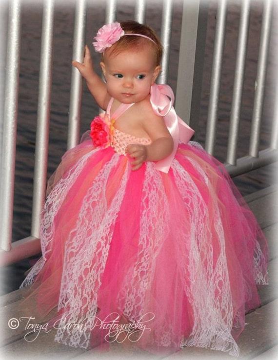 Items similar to Pink Peach Vintage Flower girl Dress