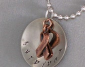 CLEARANCE Survivor Awareness Pendant and Ribbon - Handstamped Metal Necklace - One Inch
