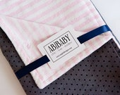 SALE minky baby blanket - girl modern - feat. designer COTTON polka dot print and striped pink minky.