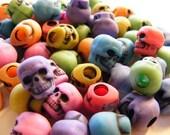 50 Multi Colored Plastic Skull Beads RAINBOW