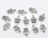 10 Antique Silver Sugar Skull Charms