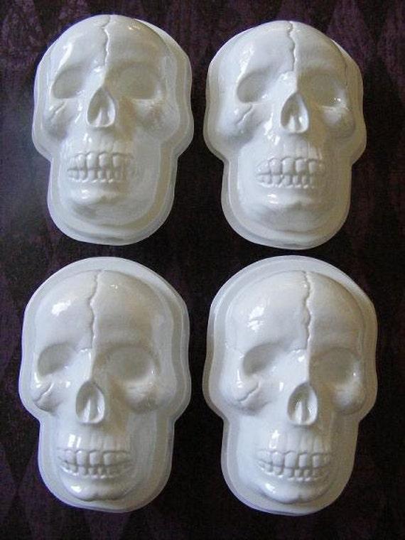 4 White Skull Head Favor Boxes
