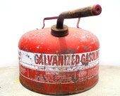 Vintage Gas Can, Galvanized Gasoline Can, Eagle Gas Can, Red Gas Can,