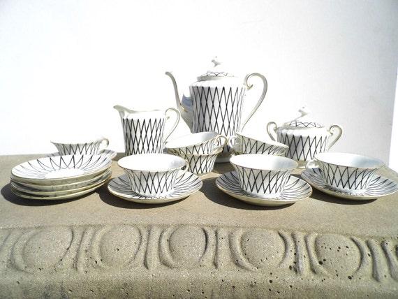 RESERVE HALLIE Antique Czechoslovakia Tea Set, Black and White Tea Set, Art Deco Tea Set, Stamped Czech Tea Set, Czech Porcelain