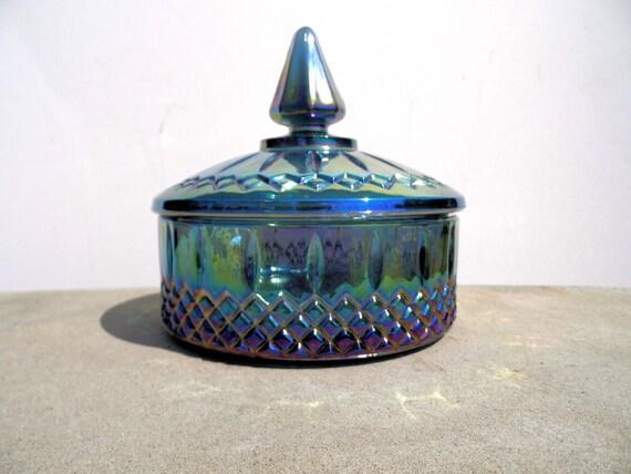 Vintage Carnival Glass, Carnival Glass Candy Dish, Glass Dresser Box, Blue Carnival Glass