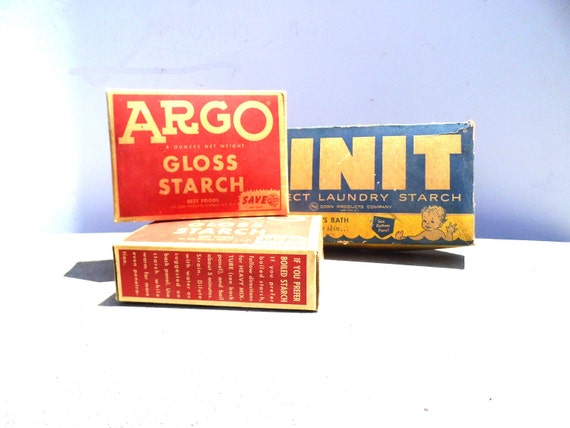 Vintage Advertising Boxes, Rustic Farmhouse Kitchen, Mid Century Kitchen and Laundry, Argo Gloss Starch, Linit Box