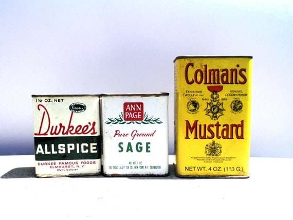 Vintage Kitchen Spices, Metal Spice Containers, Metal Spice Cans, Mid Century Kitchen, Durkees Allspice