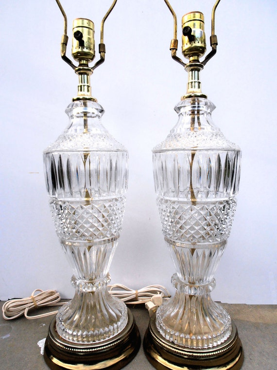 RESERVE ROSI Vintage Hollywood Regency Lamps, Mid Century Lighting, Vintage Crystal Lamps, Crystal and Brass Lamps