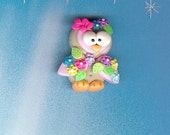 Garden  Owl Polymer Clay Beads and Bow Centers, Hair Bow Centers, Necklace Charm, Pendant Charm, Charm Necklace