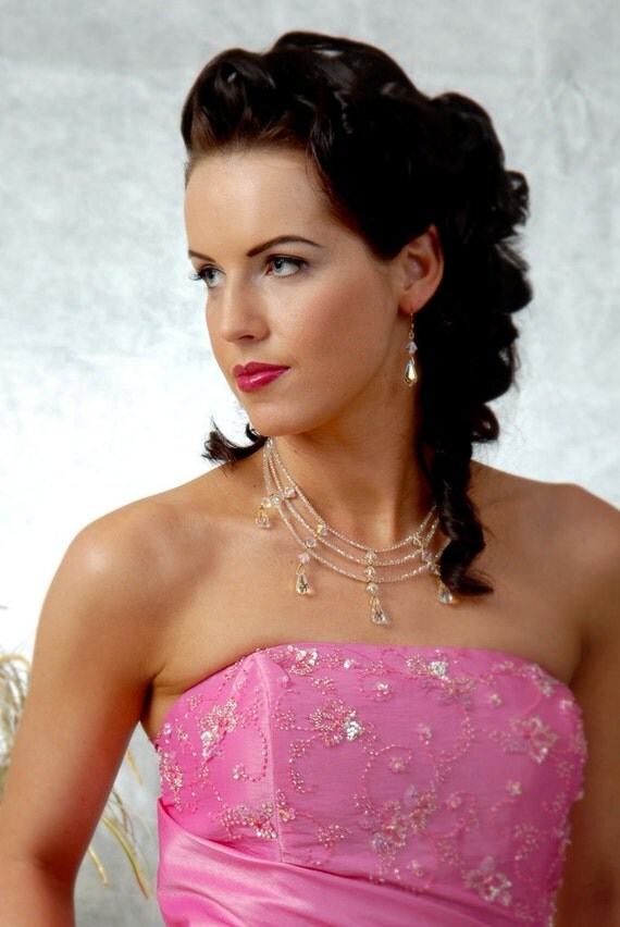 Bridal jewelry set, Swarovski crystal bridal necklace, 3 strand necklace, collar necklace, statement necklace, sample sale. CLEOPATRA