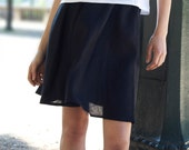 Black Linen skirt, Simple black skirt, Women Linen Clothing, Short black skirt, Circle skirt, Handmade